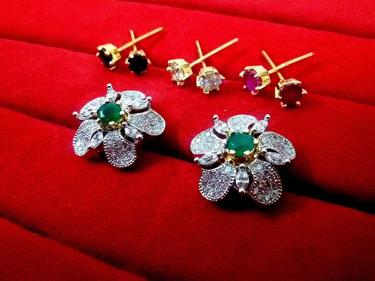 e690f7afe EAR747, Daphne Four Color Changeable AD Flower Earrings for Women ...