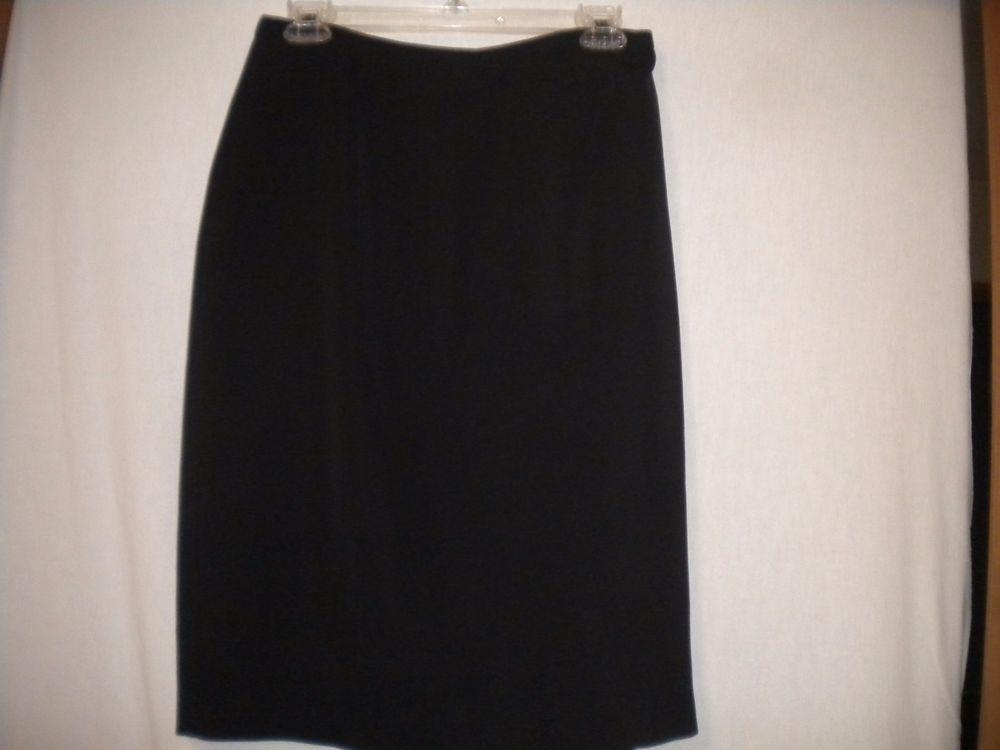 Ann Taylor Loft Size 8 Poly/Acetate Black Lined Career Above Knee Skirt…