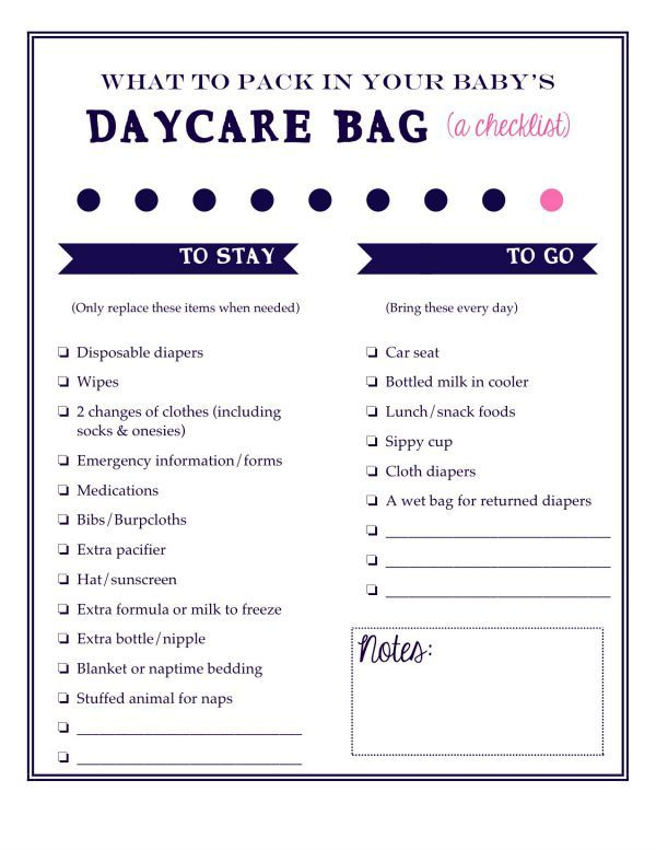 What to pack in your babyu0027s daycare bag A free printable - newborn checklist