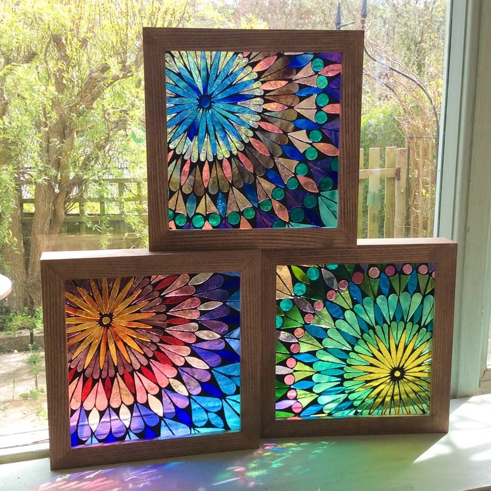 These 3 Small Stained Glass Mosaics In Siobhan Allen Mosaics Stained Glass Crafts Glass Painting Designs Stained Glass Diy