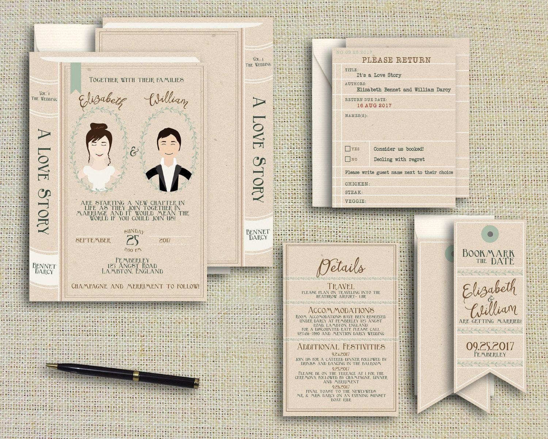 Custom Portrait Book Wedding Invitation Suite Fairytale