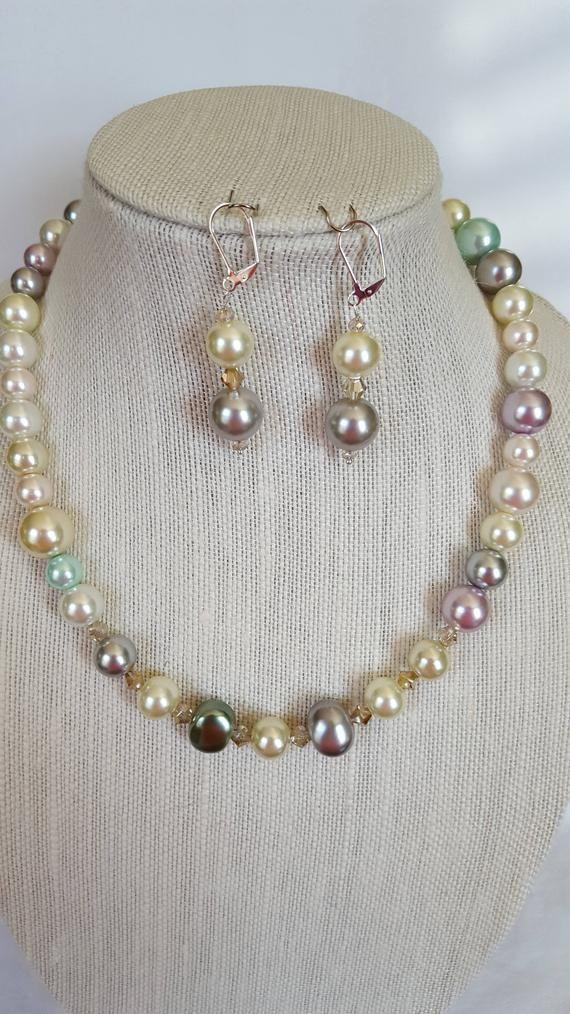 Ladies Pastel Colored Faux Pearl And Swarovski Crystal Beaded