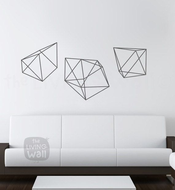 Diamonds Wall Decals Geometric Shapes Home Decor By LivingWall - Removable vinyl wall decals for home decor