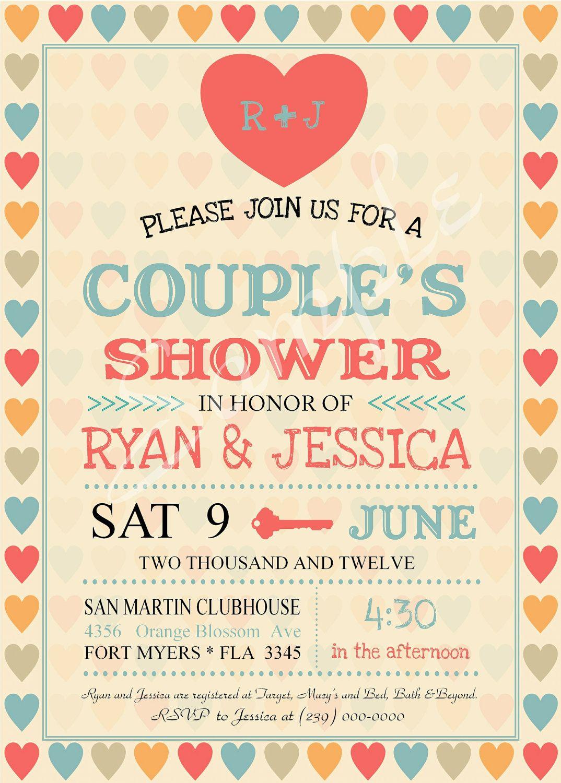 Vintage Wedding Shower Couples Invitation Custom Color