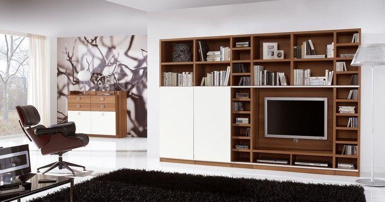 meuble tv bibliothque en bois massif et blanc neige tapis noir carrelage en grs - Meuble Tv Bibliotheque Noir