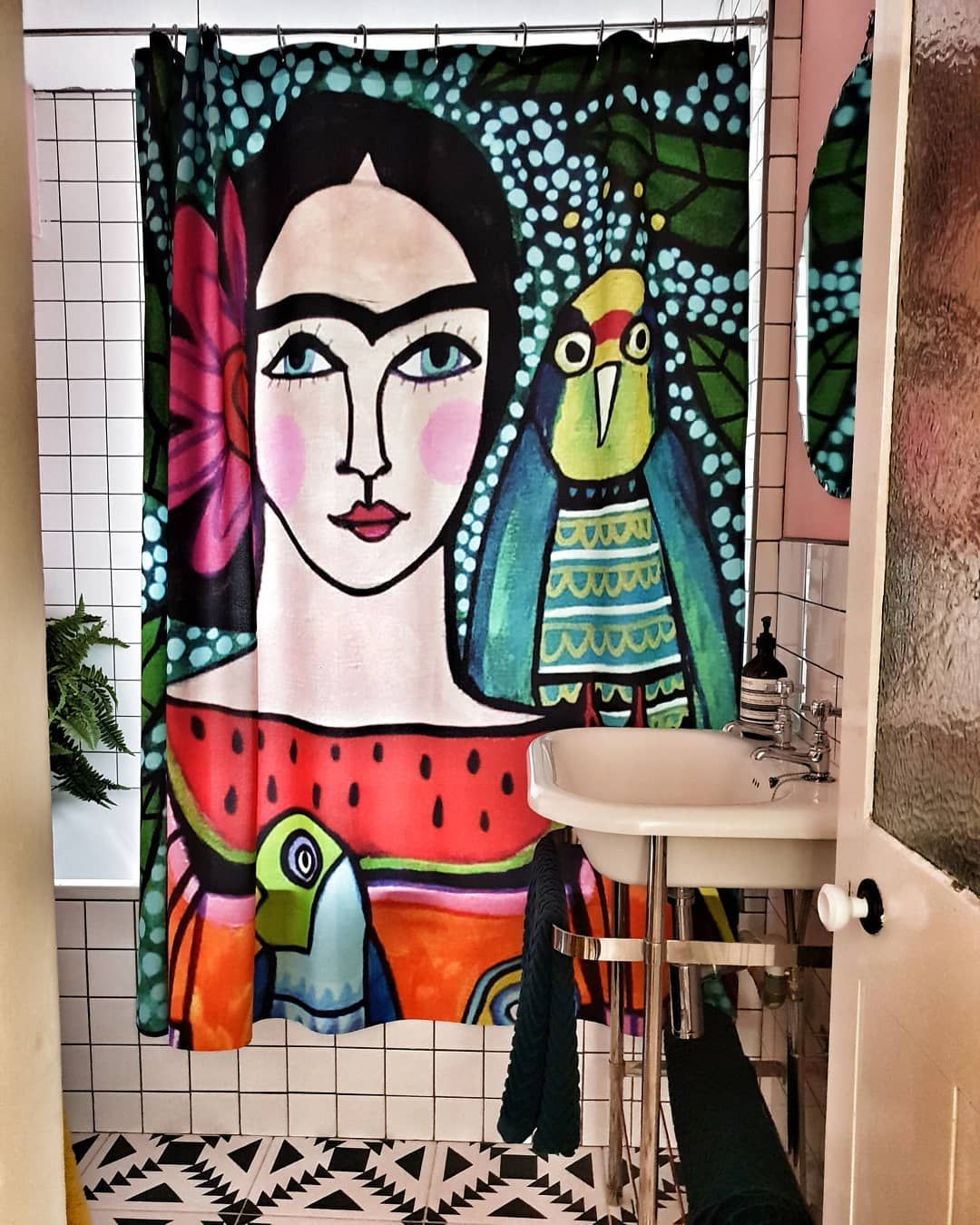 Frida Kahlo Shower Curtain With Gridpaper Tiles Woman Cave