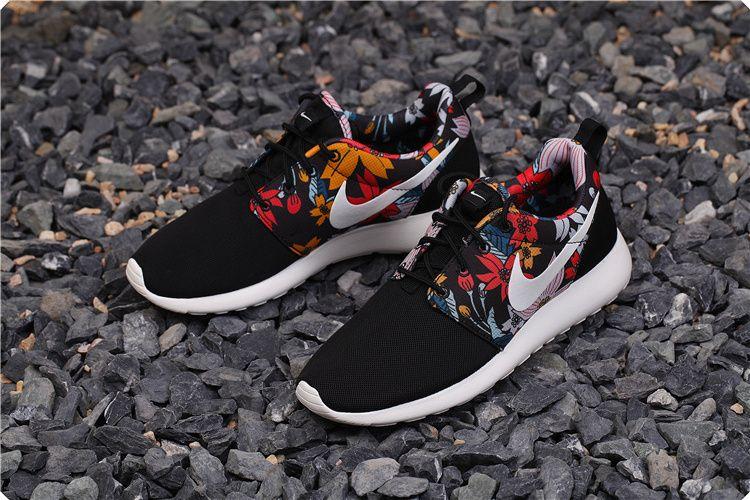 sale retailer e925a ce6a9  nike 599432-090 Custom Unisex Black Saile Upper Nike Roshe Run Supreme  Floral