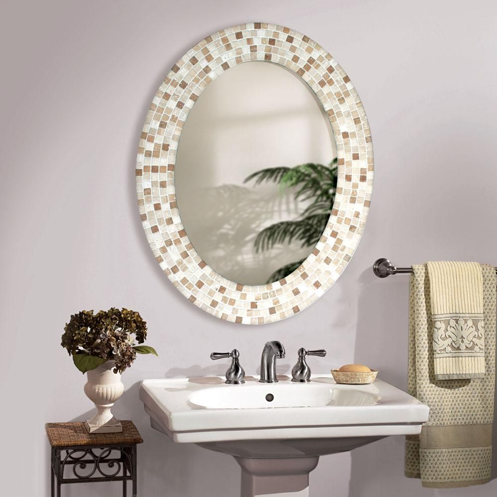 Oval mirrors for bathrooms - Travertine Mosaic Oval Bathroom Mirror Katon Long