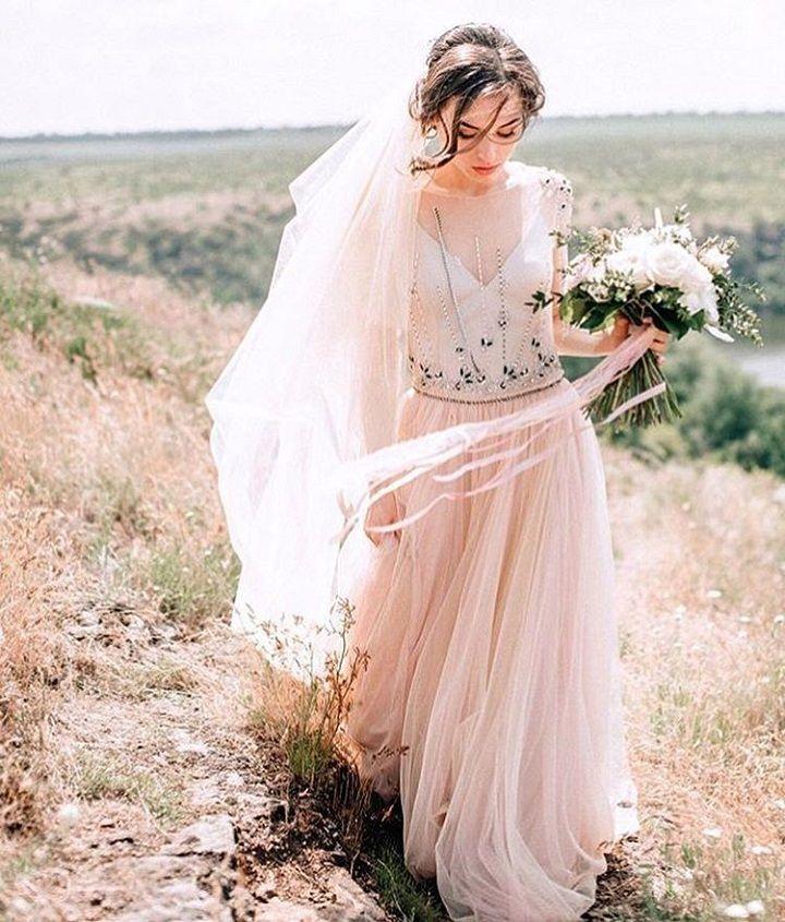 Beautiful Blush Wedding Dress #weddinggown #weddingdress #weddinginspiration #wedding #weddingown #bride