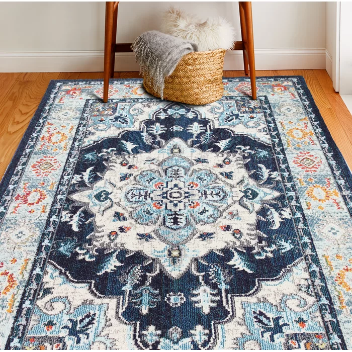 World Menagerie Chunn Blue Beige Orange Area Rug Reviews