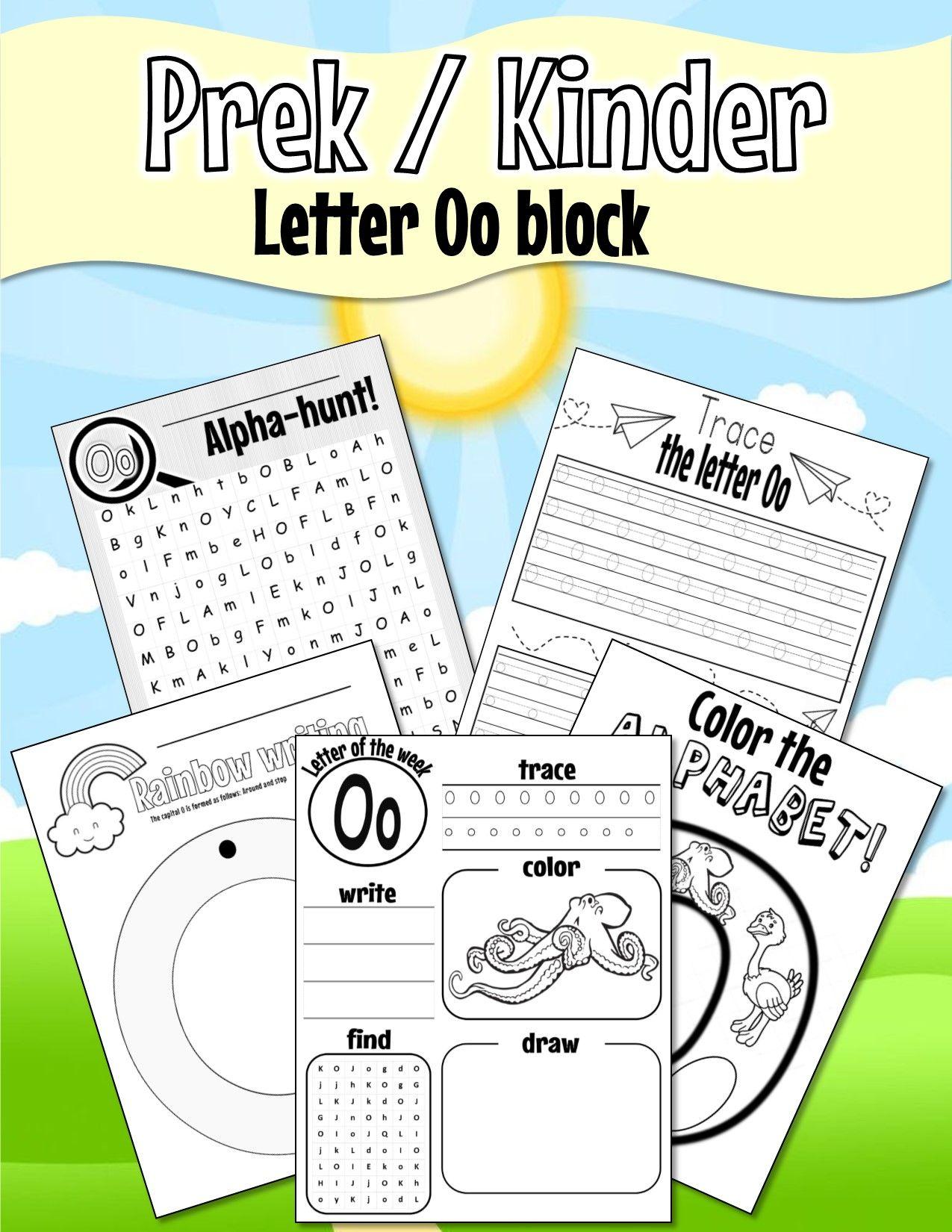 Pre K Kinder Letter Oo Worksheets