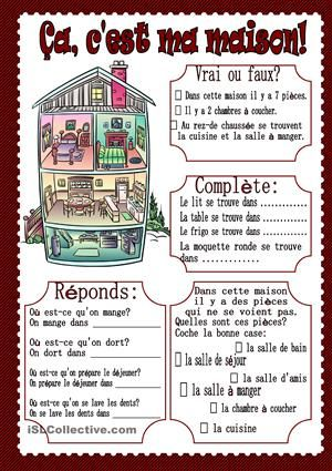 La maison - Fiches FLE ecole Pinterest Teaching french, French