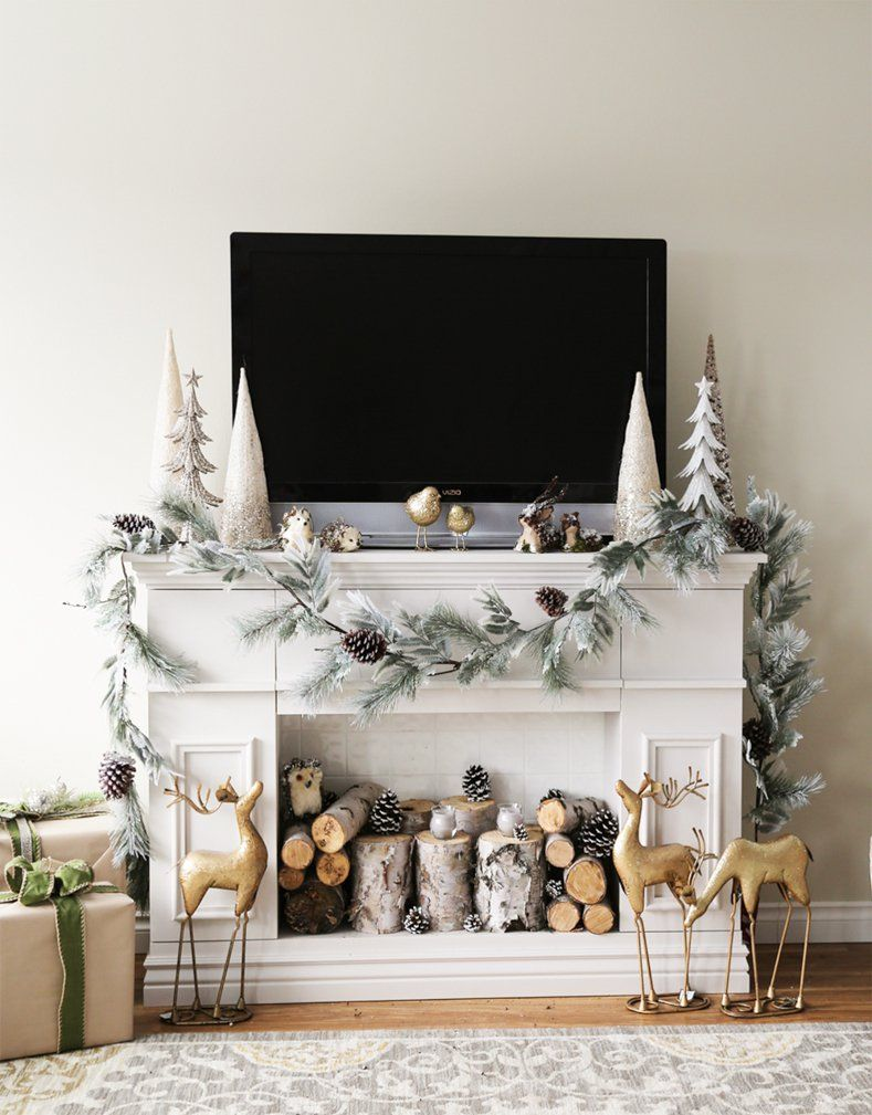 How To Decorate A Christmas Mantel With A Tv Above It Christmas Fireplace Decor Holiday Mantel Decor Christmas Mantle Decor