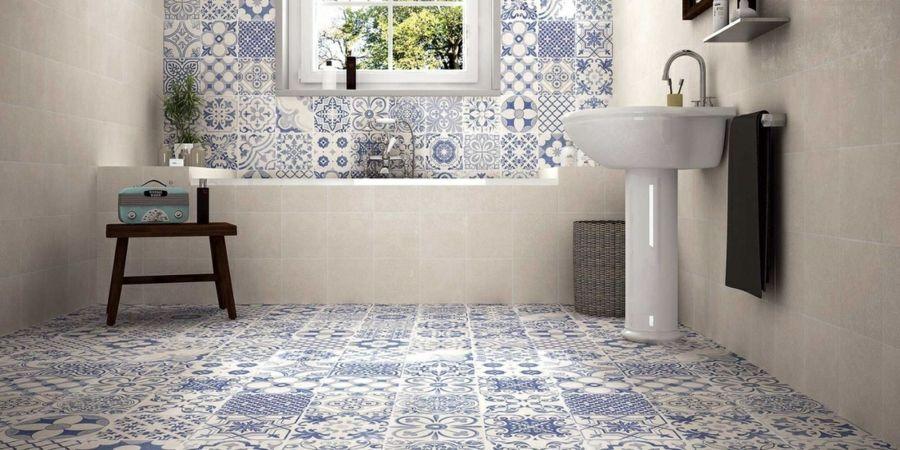 retro fliesen badezimmer schönes muster blau weiß - fliesen für badezimmer