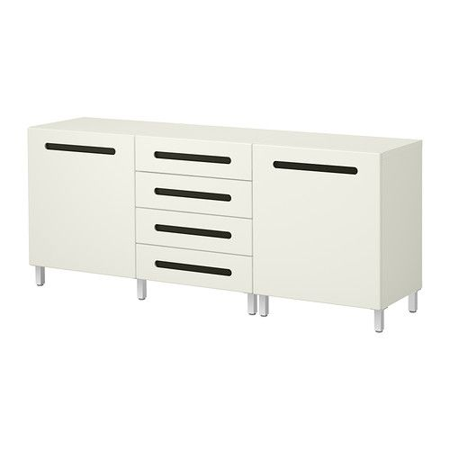 IKEA - BESTÅ, Storage combination w doors/drawers, Marviken white. A multi-purpose living room surface.