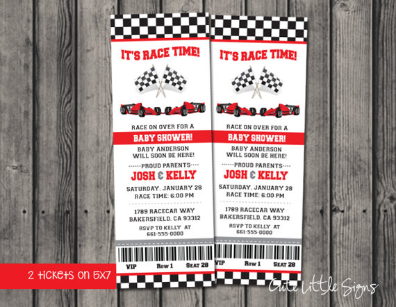 Baby Shower Ideas Boy Gender Reveal Indy Car Red Racecar Tickets Invitation By Cutelittlesigns