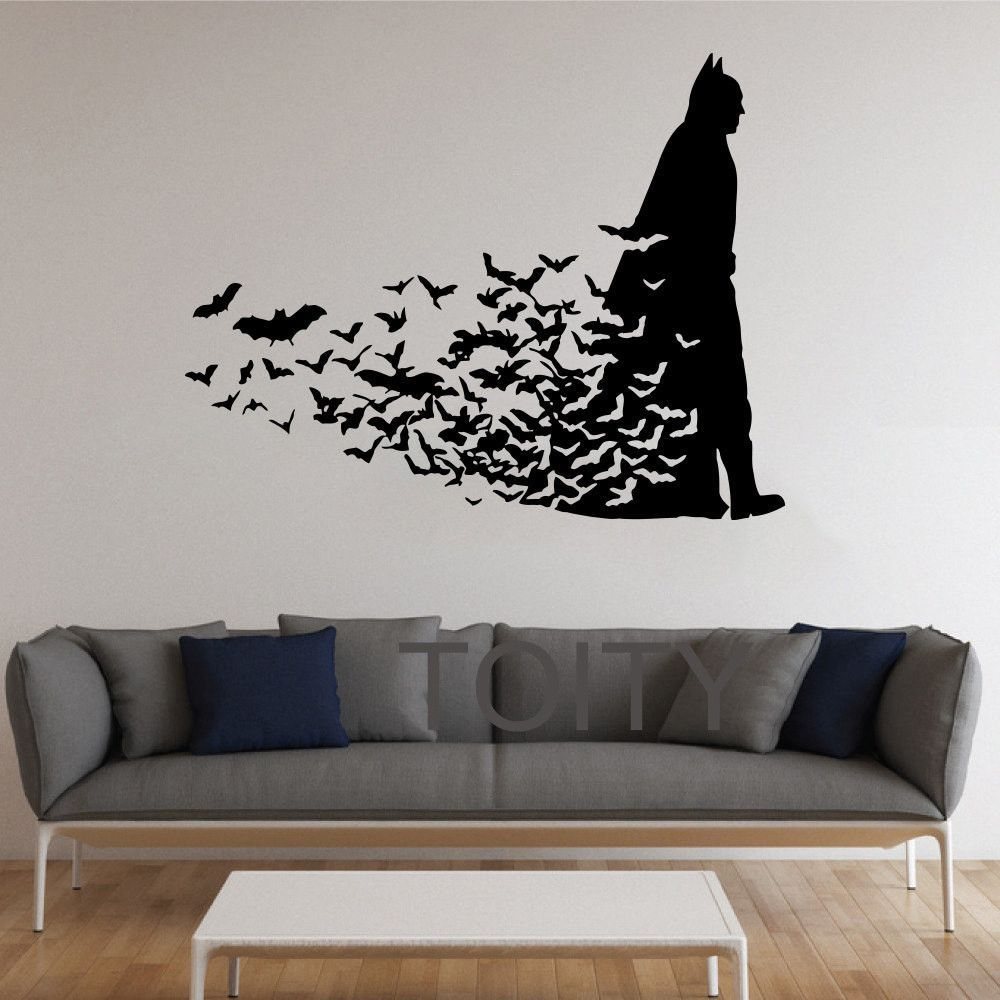Batman wall sticker dark knight poster movie comics vinyl for Dark knight rises wall mural