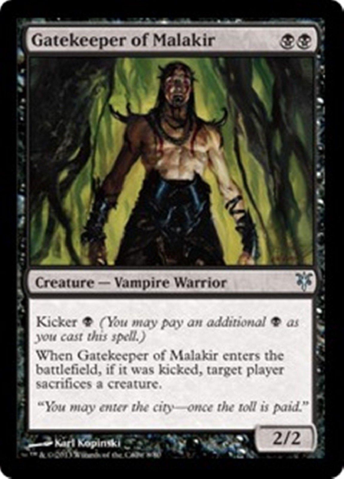 gatekeeper of malakir uncommon black vampire warrior kicker duel decks mtg edh magic. Black Bedroom Furniture Sets. Home Design Ideas
