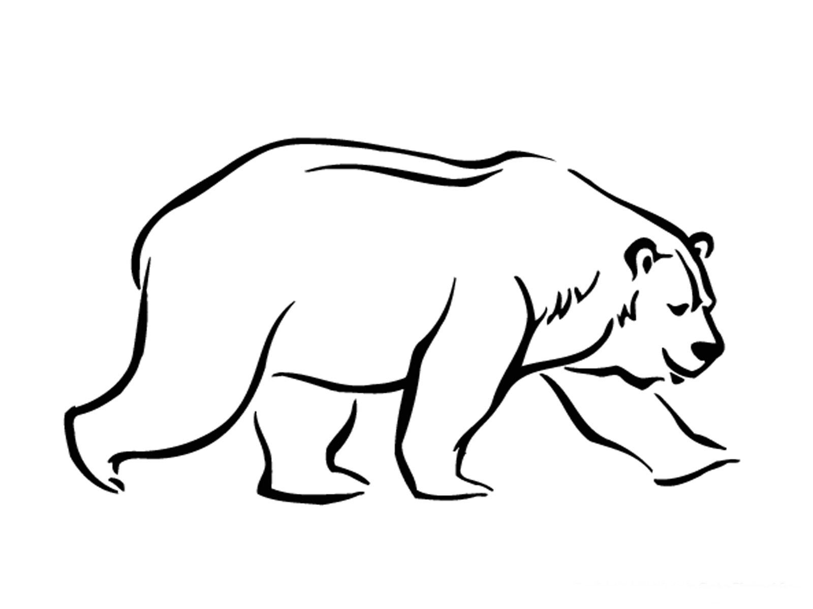 walking polar bear printable kids coloring pages