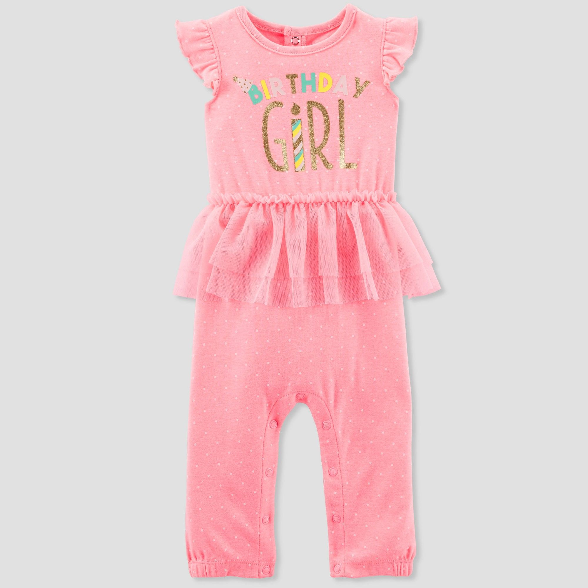 Baby-Girls Cotton Rosebud Footed Jumpsuit NB-9m