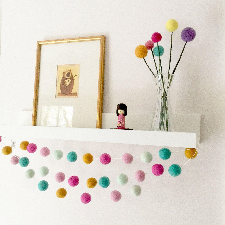 Pom Pom Garland, Pastel Pink Nursery, Felt Ball Garland
