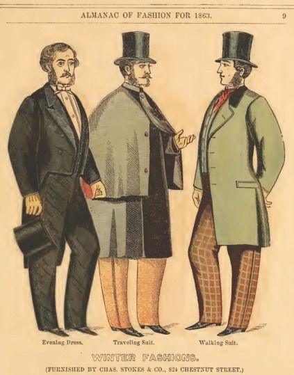 1860 men's fashion plate | Civil War Era Gentleman's Clothing - 1863 Charles Stokes & Co. Catalog