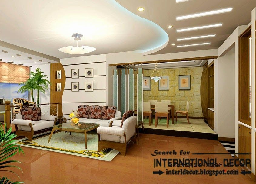 Stylish fall ceiling designs of plasterboard in the for Fall ceiling designs for living room