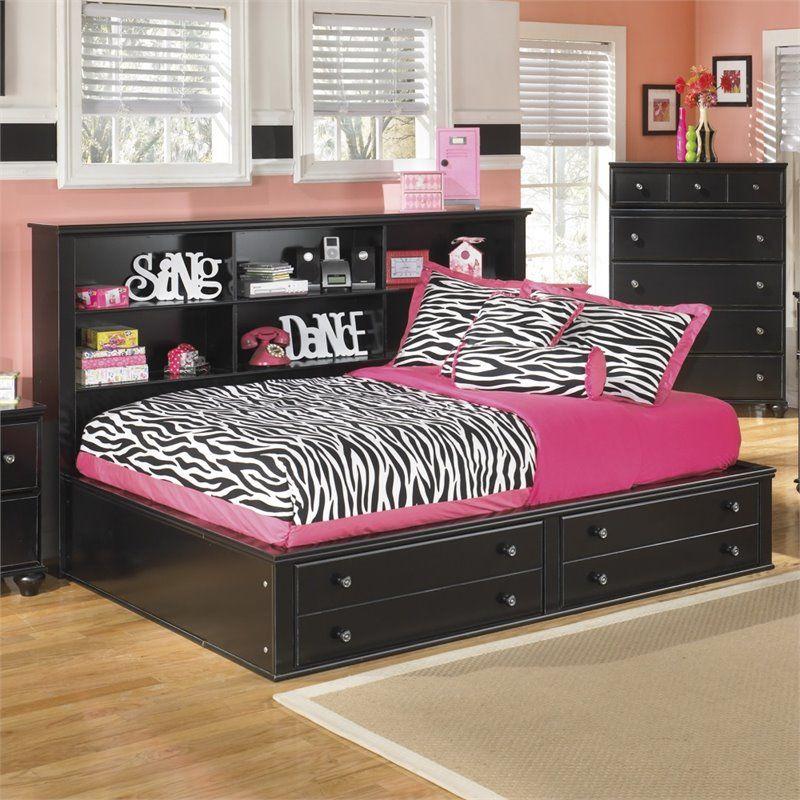 Ashley Jaidyn Wood Full Bookcase Mates Bed In Black