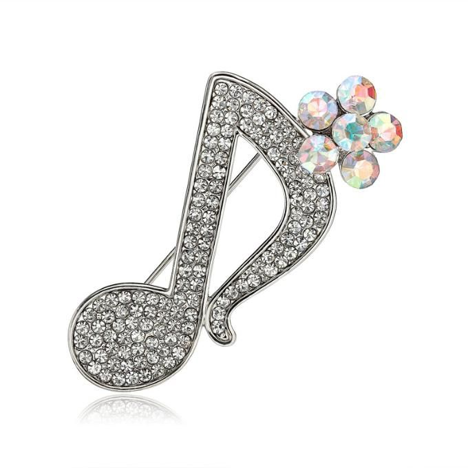 Rhinestone Flower Music Note Pin Brooch Silver Plated