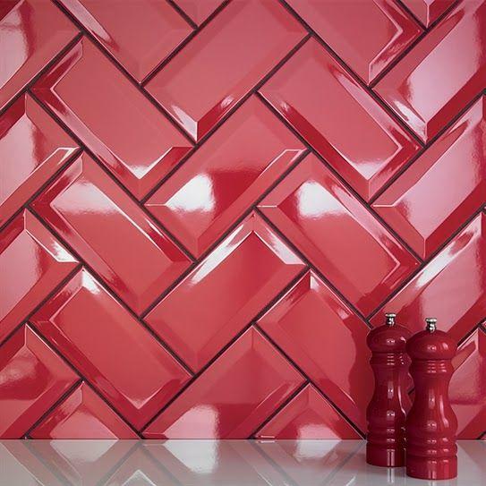 Lee Caroline A World Of Inspiration Kitchen Tile Inspiration Subway Style Metro Tilesbrick Tilesred