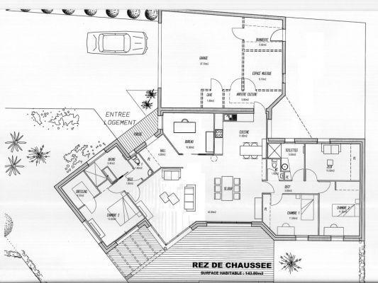 plan maison plain pied garage au nord