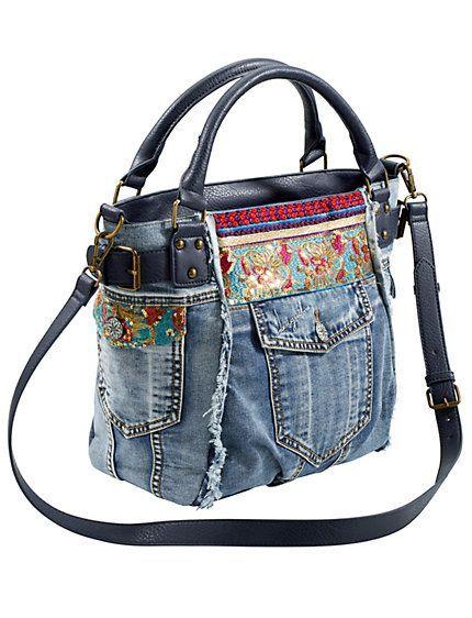 Borse Artigianato Desigual Jeans Borsa In Tessuto Di Denim Jeans XqYgwX