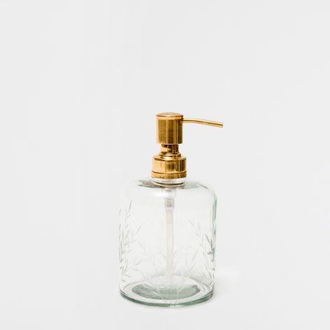 Dosificador vidrio tallado accesorios ba o zara home for Zara home accesorios bano