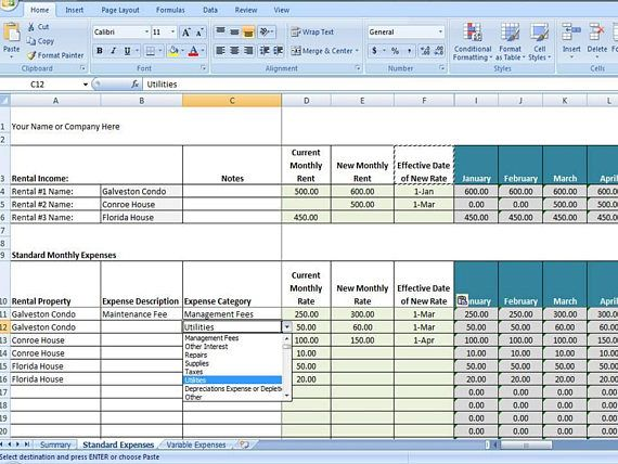 AirBnb Expense Tracker Template, AirBnb Spreadsheet Template - rental property analysis spreadsheet 2