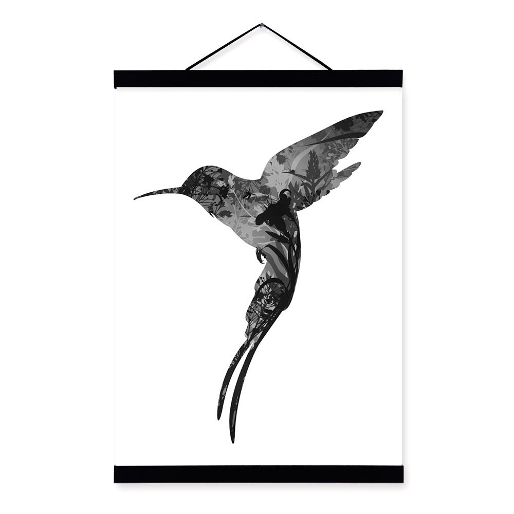 Hummingbird black white nordic minimalist animal feather framed