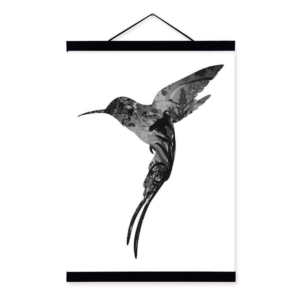 Hummingbird black white nordic minimalist animal feather framed