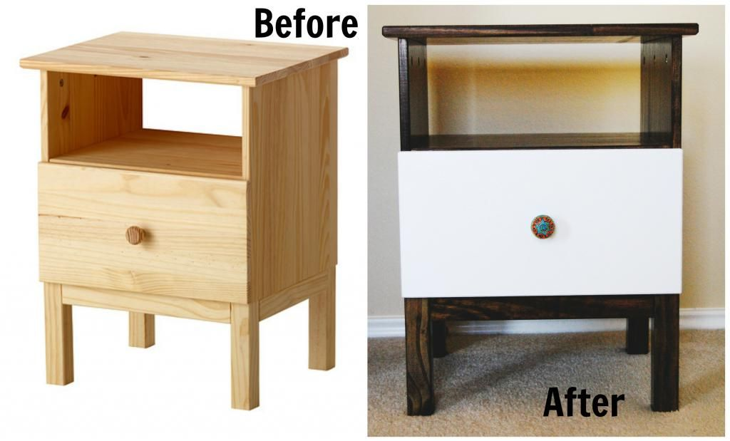 Ikea hack tarva nightstand cut legs off stain mount to for Ikea tarva hack de lit