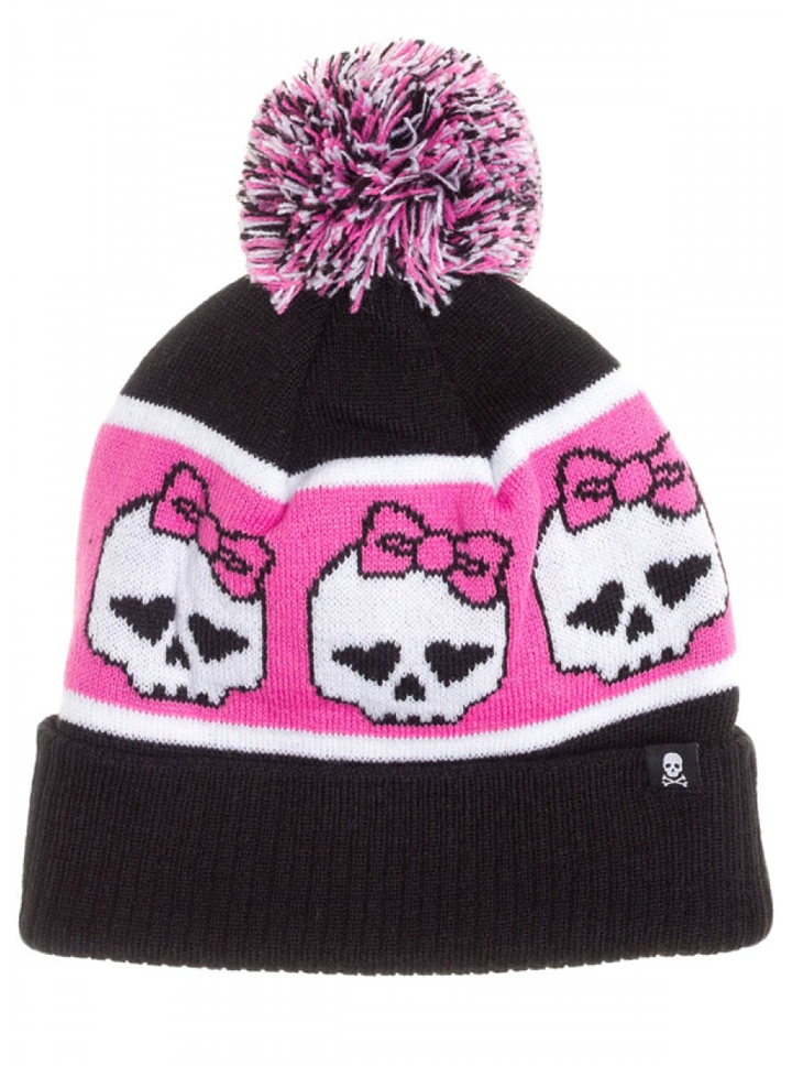 """Girly Skulls"" Pom Hat by Sourpuss Clothing (Black/Pink) I thought this was a ""Monster High"" kids hat at first lol still cute tho"