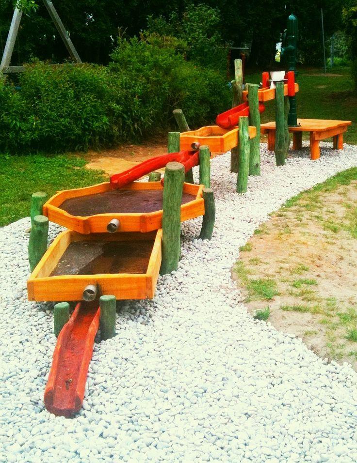 Wasserspielplatze Und Spielanlagen Zum Matschen Wasserspiel Aus Robinienholz Und Edelstahl Matschtis Kinderspielplatz Garten Wasserspielplatz Garten Spielplatz