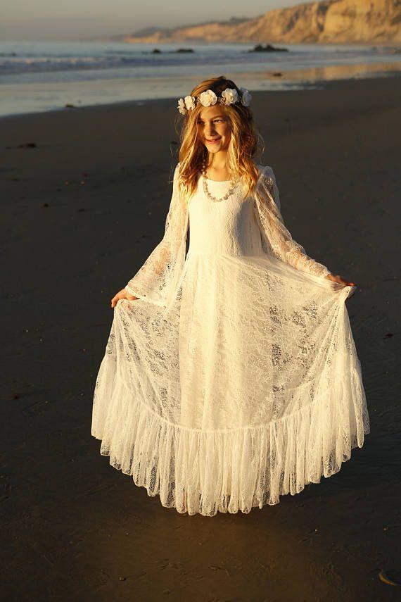 First Communion Dress, Flower Girl Off White Lace Dress, Boho-chic ...