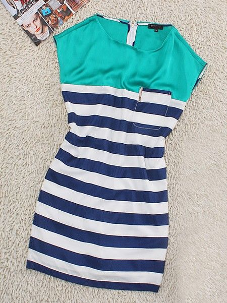 Green Casual Round Neck Sleeveless Striped Dress