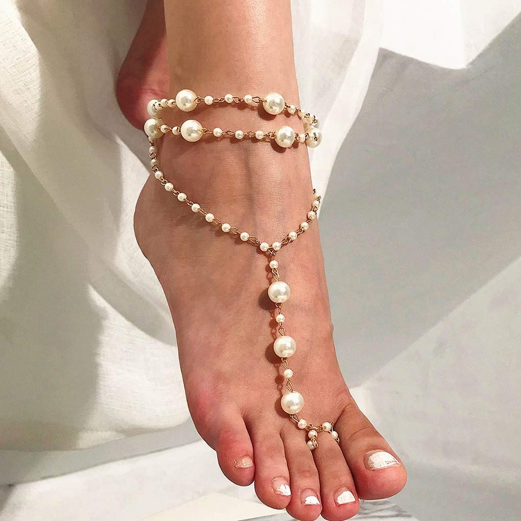 Women Pearl Barefoot Sandals Bracelet Jewelry Beach Anklet Foot Chain Toe Ring