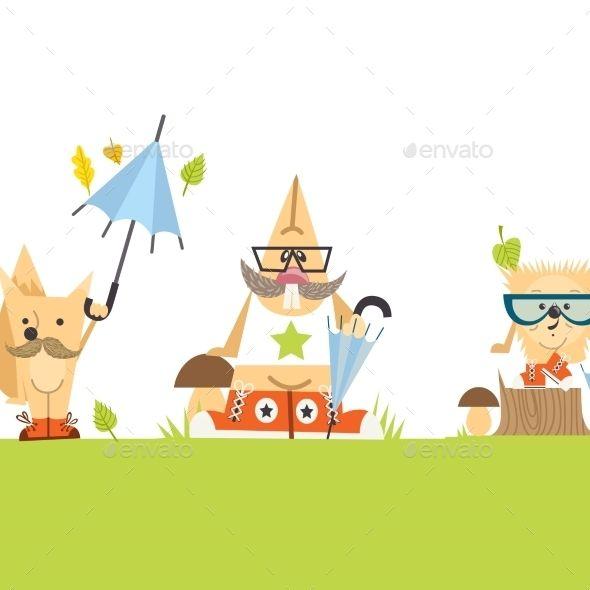 Cartoon  Animals Hipster Style