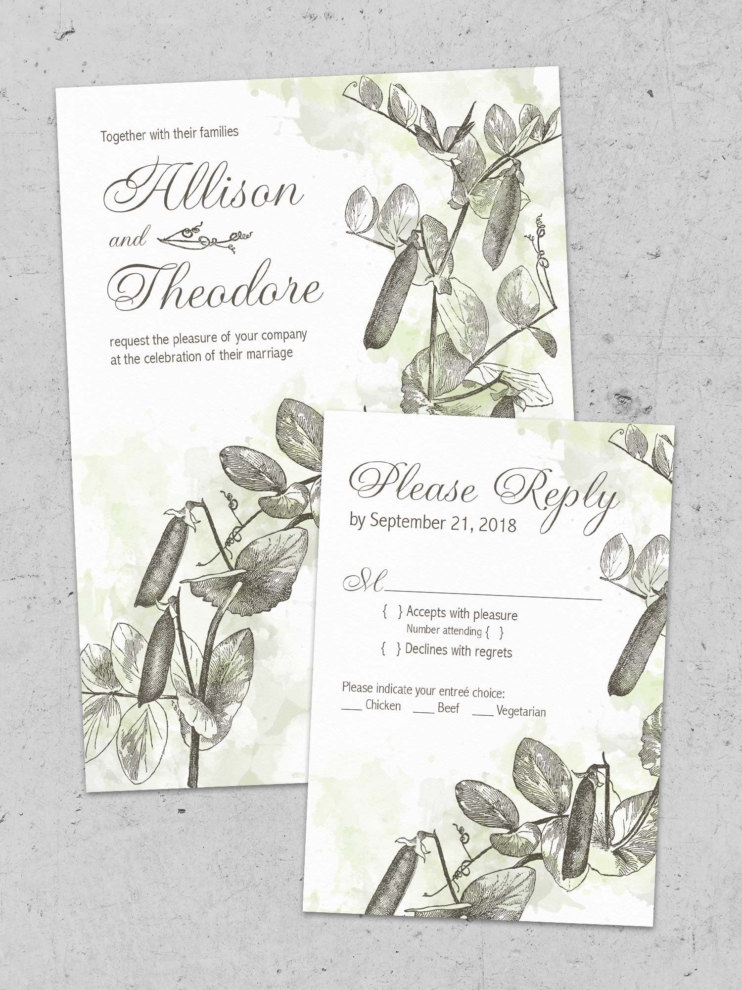 Elegant Watercolor Wedding Invitation Printable Sweet Pea Set Botanical Stationery Custom