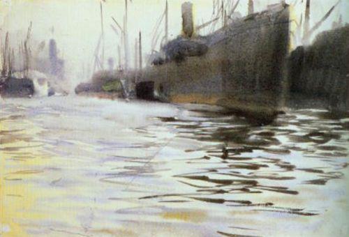 "Anders Zorn ""Hamburgs hamn"" (1891). Akvarell 46 x 67 cm. Nationalmuseum, Stockholm."