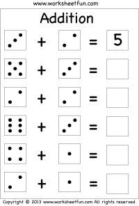 Single Digit Addition \u2013 Three Worksheets / FREE Printable Worksheets \u2013 Worksheetfun
