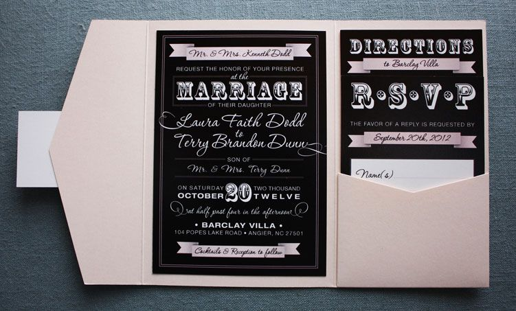 Blush Pink Black Vintage Steampunk Poster Style Pocketfold Wedding Invitations