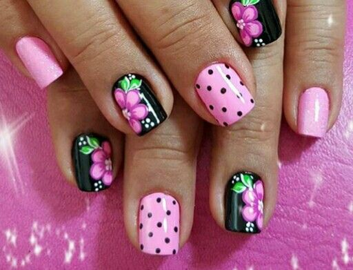 Black Pink Nails With Flowers Polka Dots Manicura De