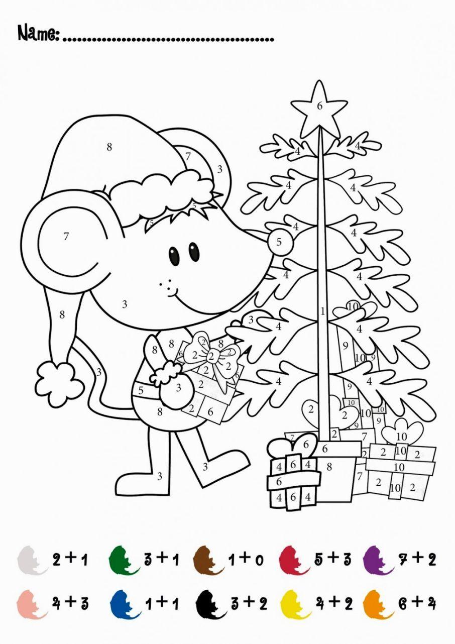 Christmas Addition Coloring Worksheets Matematika