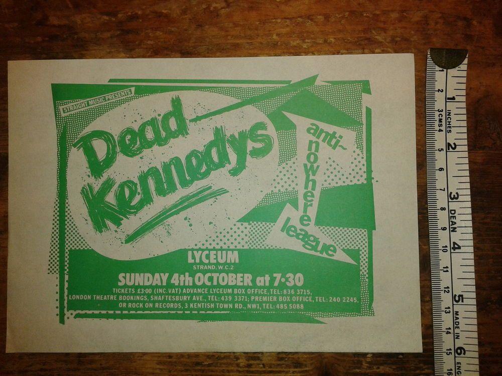 ORIGINAL CONCERT FLYER  1981 -DEAD KENNEDYS / ANTI NOWHERE LEAGUE- LYCEUM